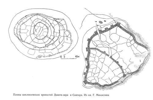 Планы циклопических крепостей Дашти-лера и Сангара. Из книги Г. Микаеляна