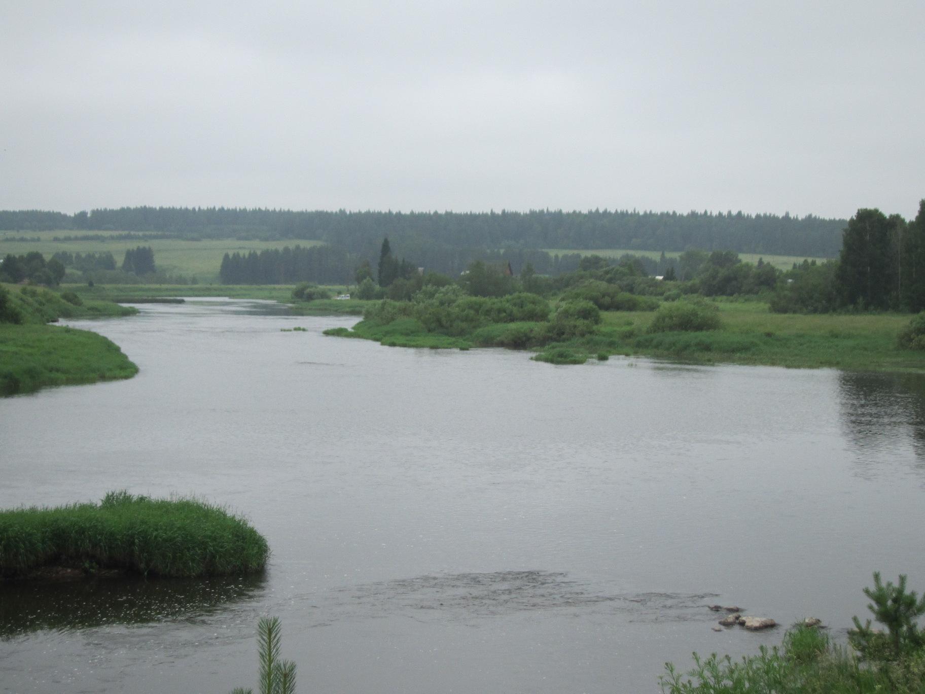 Вид на Чусовую вверх по течению Где-то там далеко за лесом - Верхний Уфалей (08.07.2015)