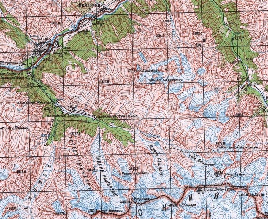 Карта ущелья Адылсу
