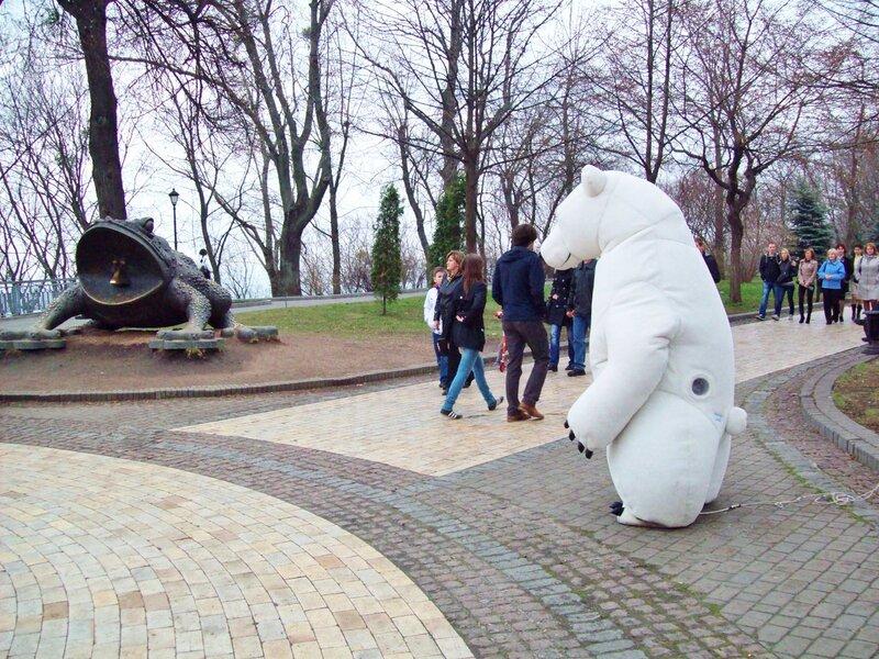 Белый медведь и бронзовая жаба в Хрещатом парке