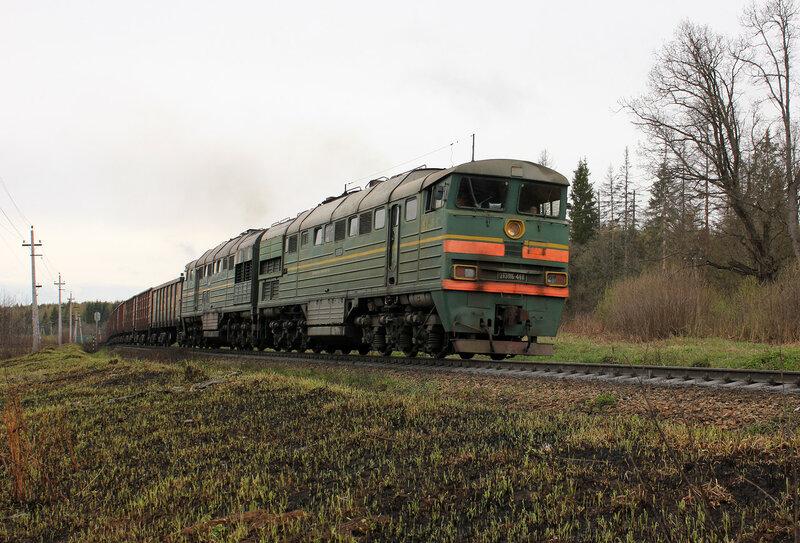 2ТЭ116-448 на перегоне Муриково - Шаховская