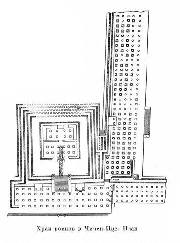 Храм воинов в Чичен-Ице, план