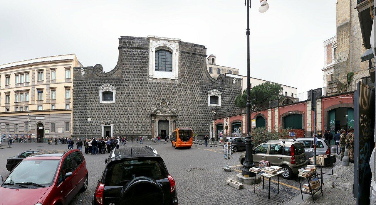 Naples. Square and Church of Gesu Nuovo (Piazza del Gesu Nuovo)