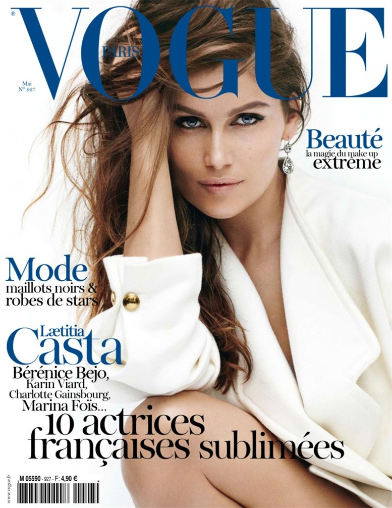 Laetitia Casta / Летиция Каста, фотограф Mario Testino на обложке журнала Vogue Paris, май 2012