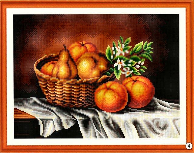 Cхема вышивки крестом Корзина с фруктами.