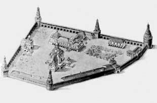 Симонов монастырь в XVII веке. Реконструкция Р.А.Кацнельсон.