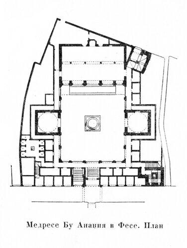Медресе Бу Ананиа в Фесе, план