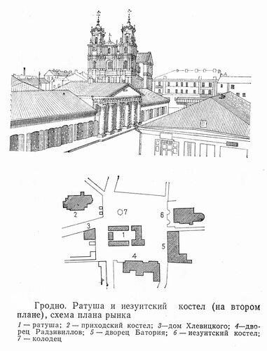 Гродно, ратуша, иезуитский костел, рынок, чертежи