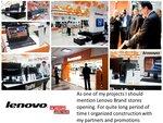 Строительство и открытие фирменных магазинов Lenovo