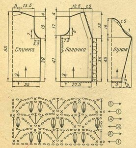 Крючок 3 (спицы 2,5). Спинку, обе полочки и рукава вяжите снизу вверх строго по чертежу.