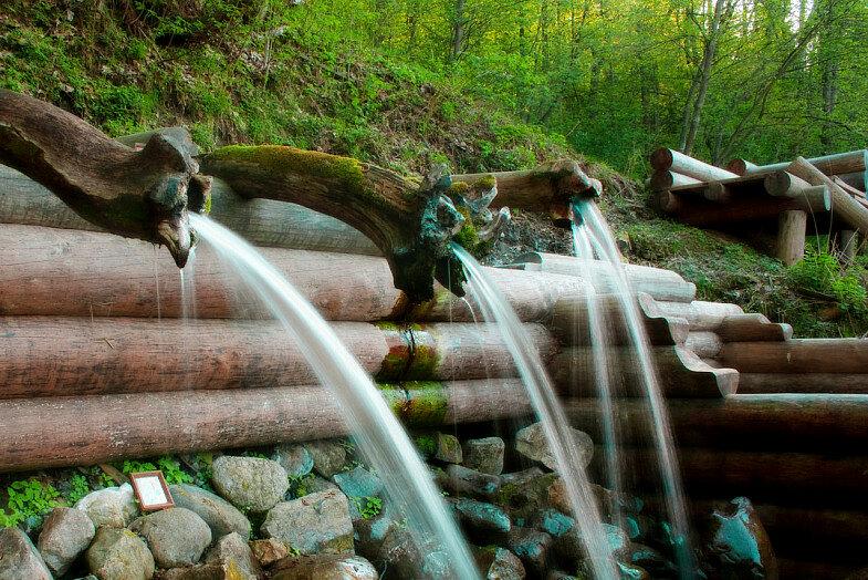 Быстро и шумно бегутпо деревянным желобкам и склонам холма воды
