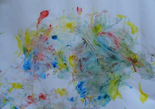 Рисунки красками. Автор: Василиса Королева (8 месяцев)
