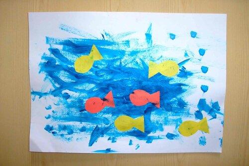 Аппликация. Рыбки в море. Автор: Парамонова Катя