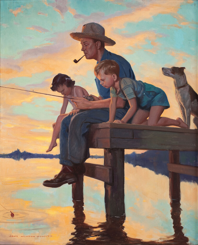 папа и сын плывут на лодке по течению реки