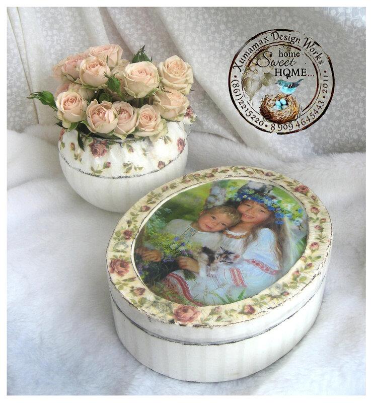 комплект дамский белый Шебби ваза и шкатулка.