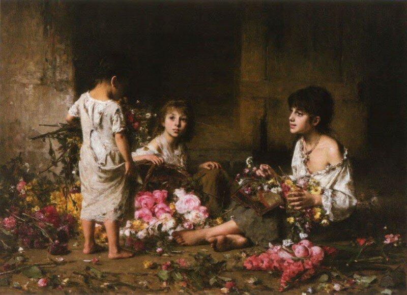 Alexei Alexeievich Harlamoff (or Alexej Harlamoff - Alexej Charlamoff) (Russian painter, c 1840–1925) The Flower Girls.jpg