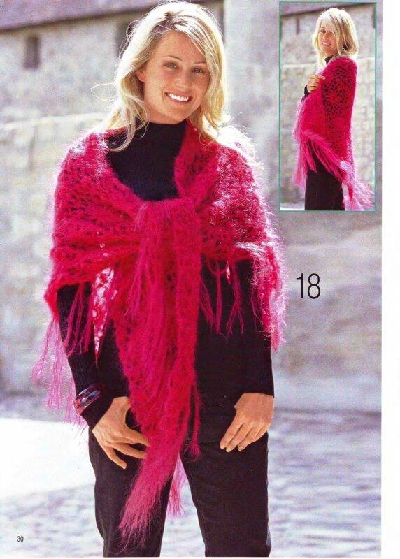 Теплая пушистая шаль, связанная из королевского мохера, выполнена из мотивов.  Вяжется легко и быстро.