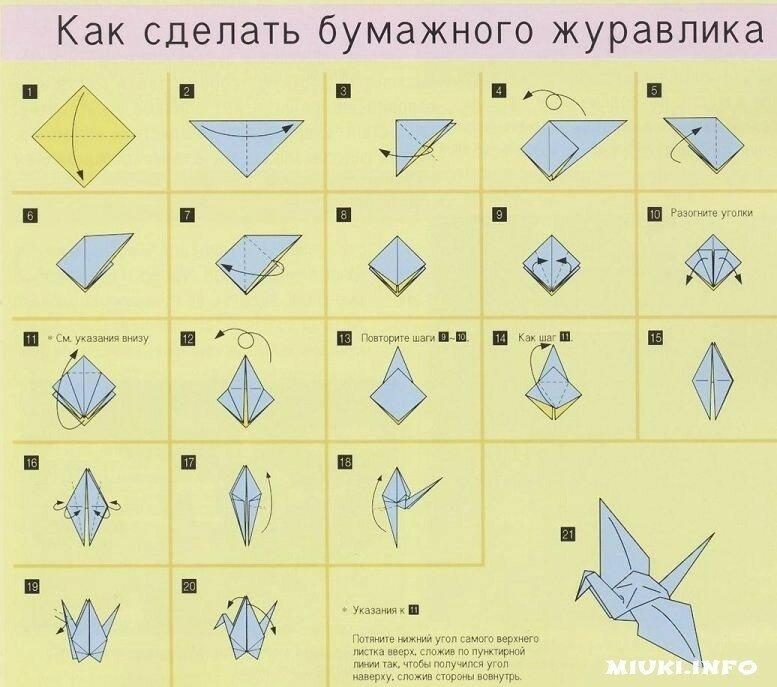Схема Классического журавлика оригами