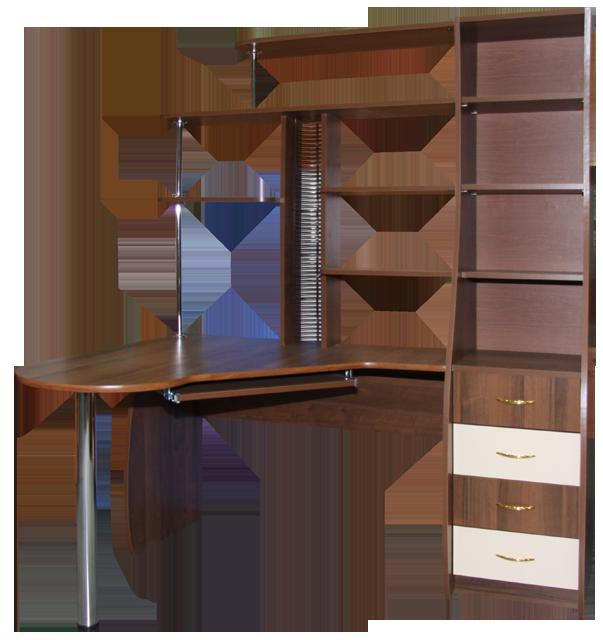 угловые компьютерные столы с полками и ящиками