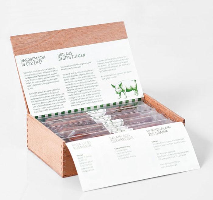 15. То же самое можно сказать и про эту упаковку для мини-салями. Продукт сложили в деревянный короб