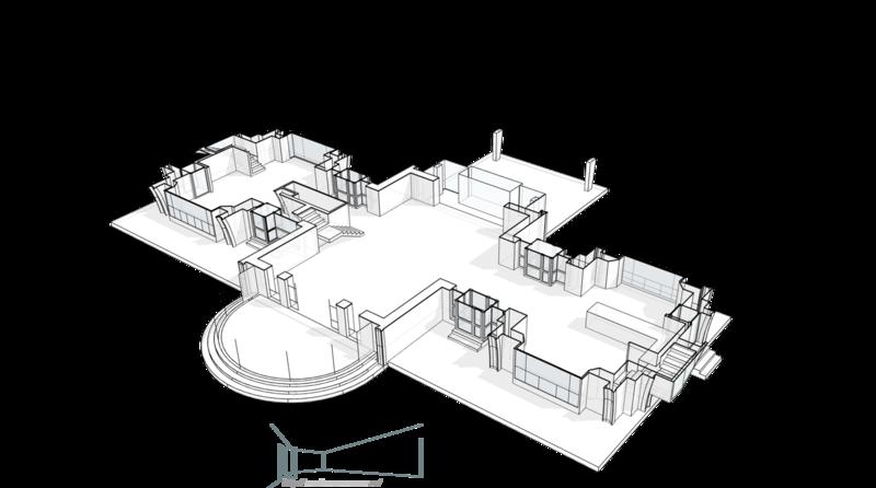 План первого этажа, группа входа, терраса. Свет проникает в гостиную-каминную первого этажа, через листву декоративного озеленения на террасе