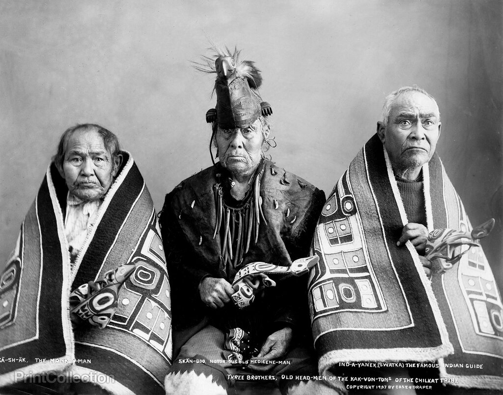 Three brothers, headmen of the Chilkat, Alaska, 1907
