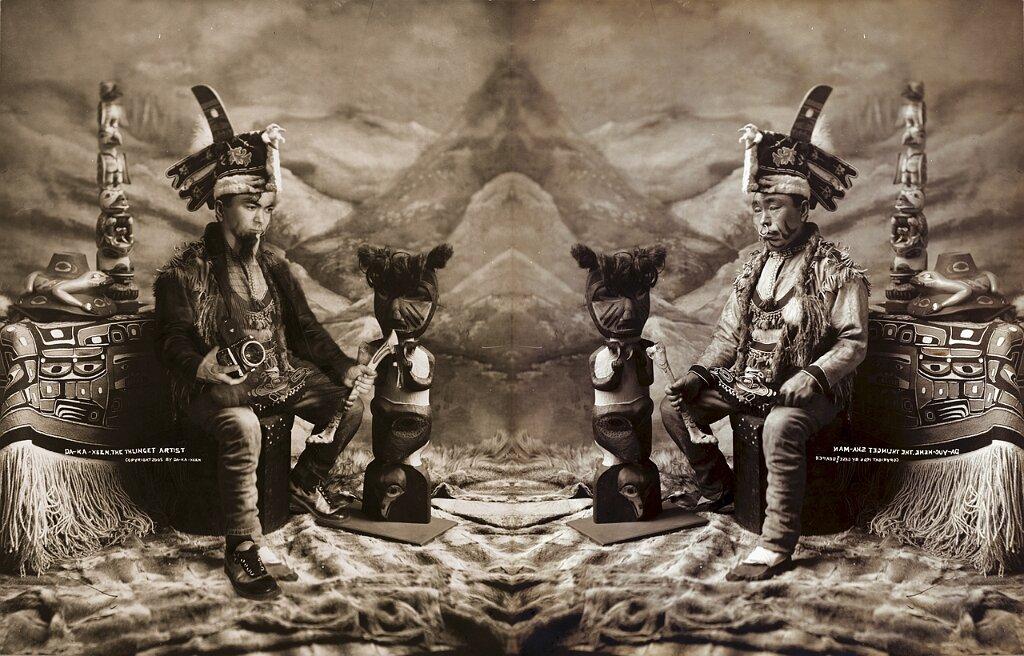 Tlingit man in full dancing costumes, Alaska