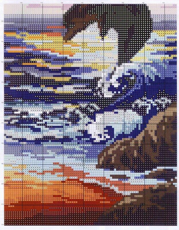Схема вышивки крестом пара море