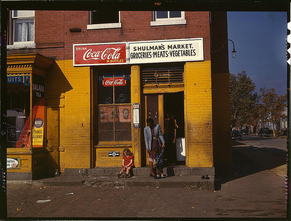 Shulman's market, on N at Union Street S.W. Washington, D.C., between 1941 and 1942. Reproduction from color slide. Photo by Louise Rosskam. Prints and Photographs Division, Library of Congress