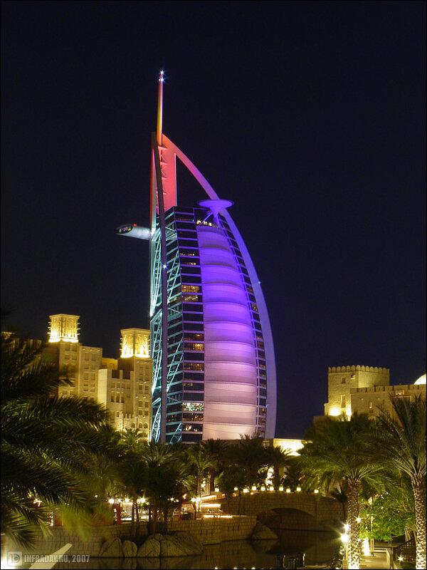 Ночные Дубаи, фотография ночных Дубаев