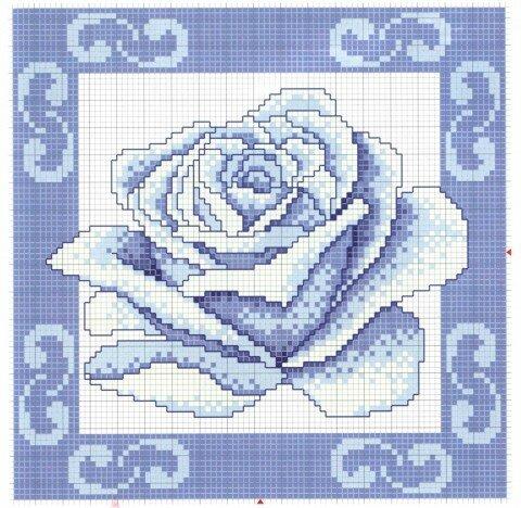 "Схема вышивки  ""Подушка  ""Голубая роза."