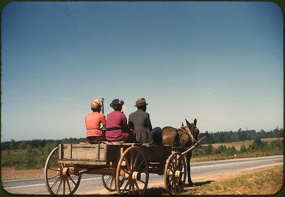 Going to town on Saturday afternoon. Greene County, Georgia, May 1941. Reproduction from color slide. Photo by Jack Delano. Prints and Photographs Division, Library of Congress