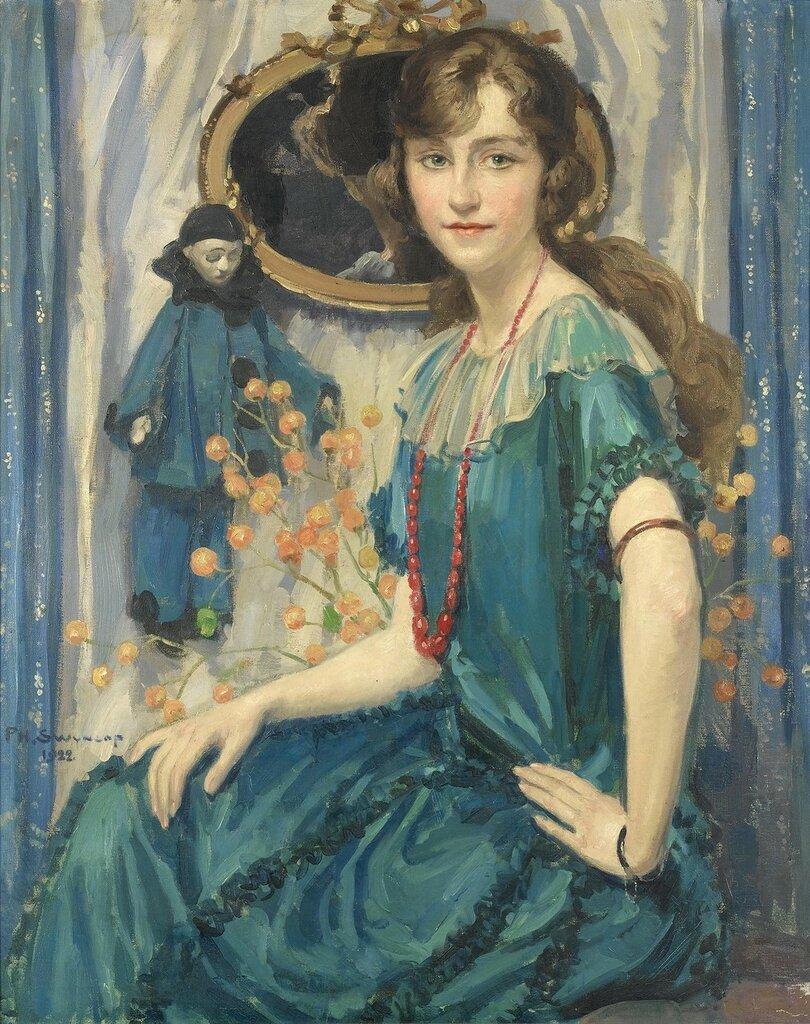 Филипп Свинкоп (Philippe Swyncop), 1878-1949. Бельгия    Портрет девушки в синем_.jpg