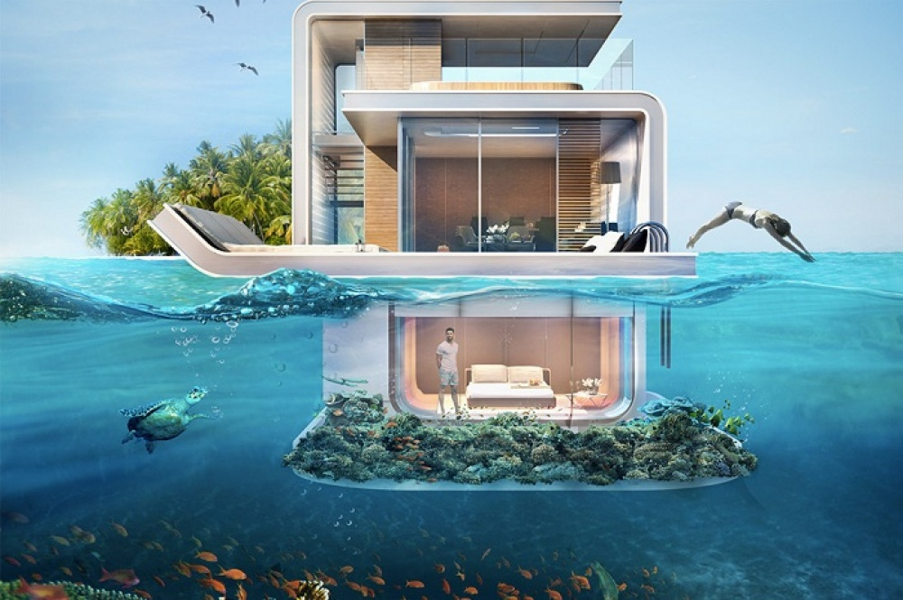 Концепт проекта следующий: каждая вилла имеет три этажа, два изкоторых находятся выше уровня воды и
