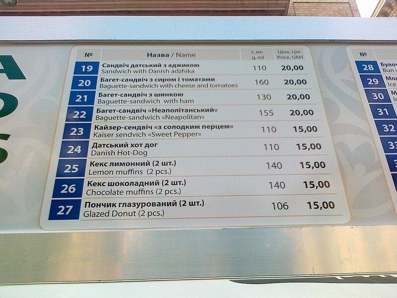 Цены на продукты в фан-зоне Евро 2012 на Крещатике