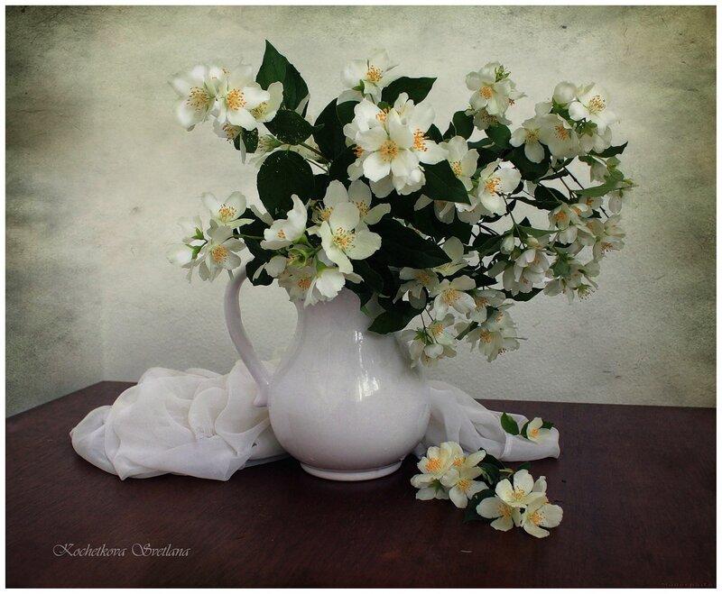 Марка нитей. цветы. жасмин. натюрморт.  Гамма, 60 цветов.  3. Теги: букет.  300x247 крестов. аромат.