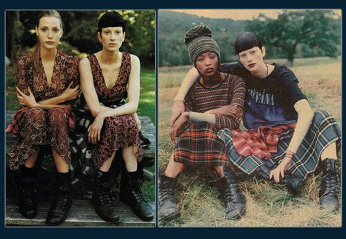 Nadja & Kristen, Vogue, 1991;   Naomi & Kristen, Vogue, 1991