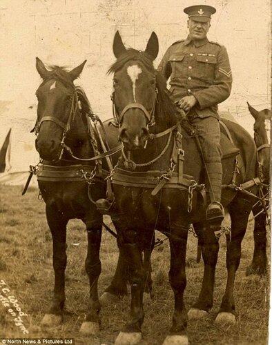 Сержант Томпсон и его настоящий боевой конь.