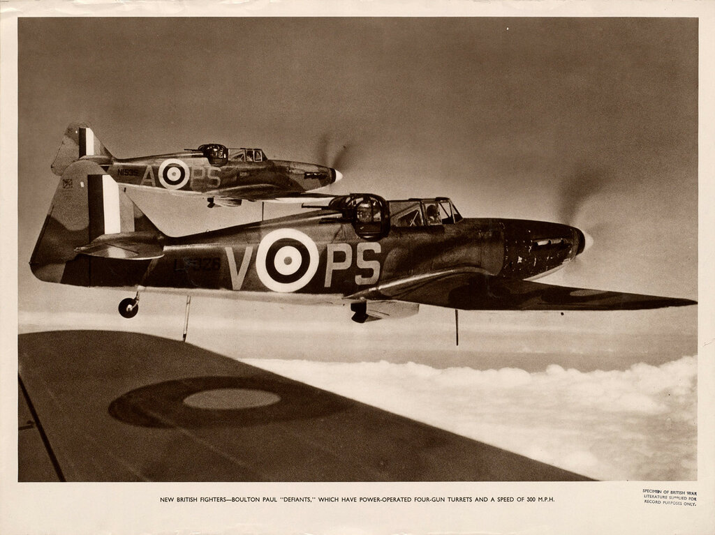 "New British fighters - Boulton Paul ""Defiants"" which have power-operated four-gun turrets and a speed of 300 m.p."
