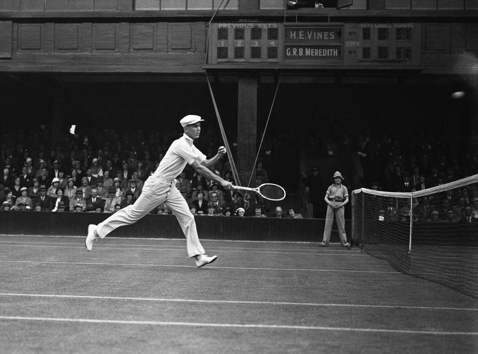 Ellsworth Vines in play at Wimbledon, London on June 26, 1933