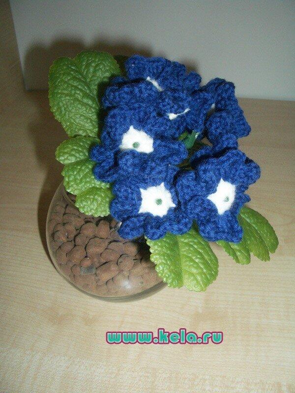 """Синяя вербена в стакане.  """"вербена,вязаные цветы,цветы крючком,синяя вербена."""