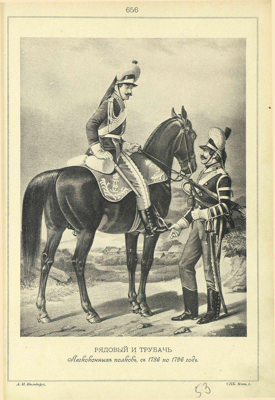 656. РЯДОВОЙ и ТРУБАЧ Легкоконных полков, с 1786 по 1796 год.