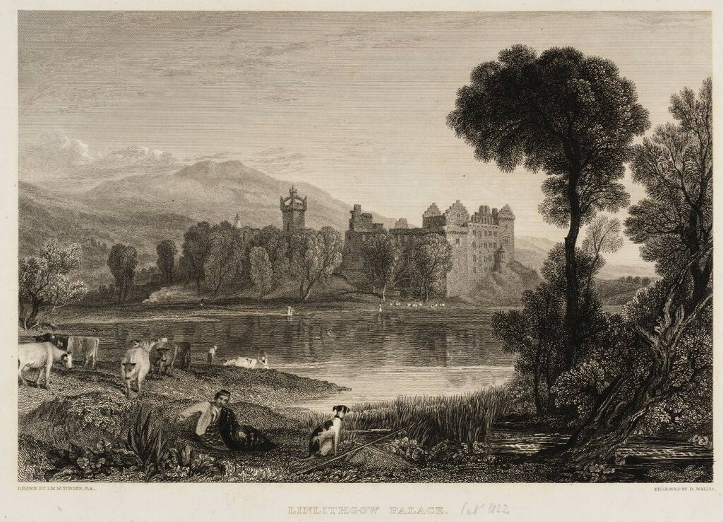 Linlithgow Palace, engraved by R. Wallis published 1822 by Joseph Mallord William Turner 1775-1851