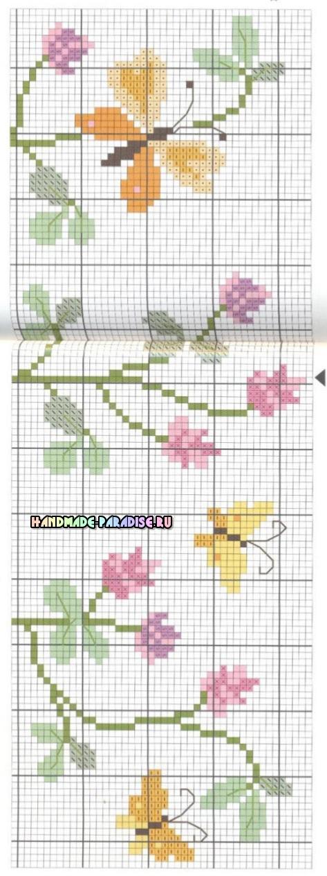 Схема вышивки. Бабочки на скатерти (2)