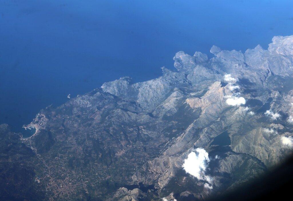 Majorca, the town of Port de solier. Aerial view