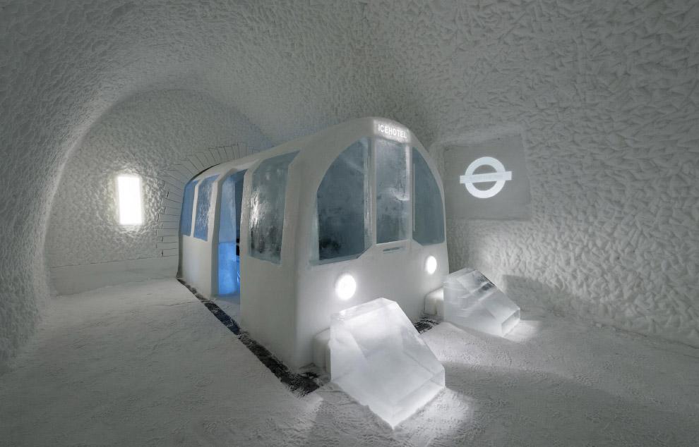 10. В одном из номеров есть снежный слон. (Фото Icehotel.com):