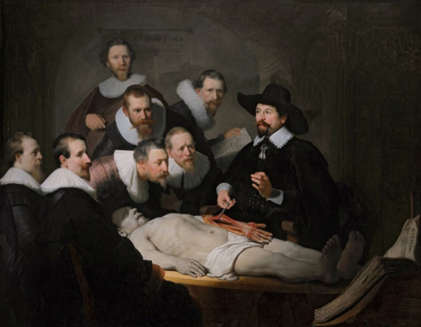 The anatomy lesson of Dr Nicolaes Tulp *oil on canvas *169 x 216,5 cm *signed t.c.: Rembrant. ft: 1632