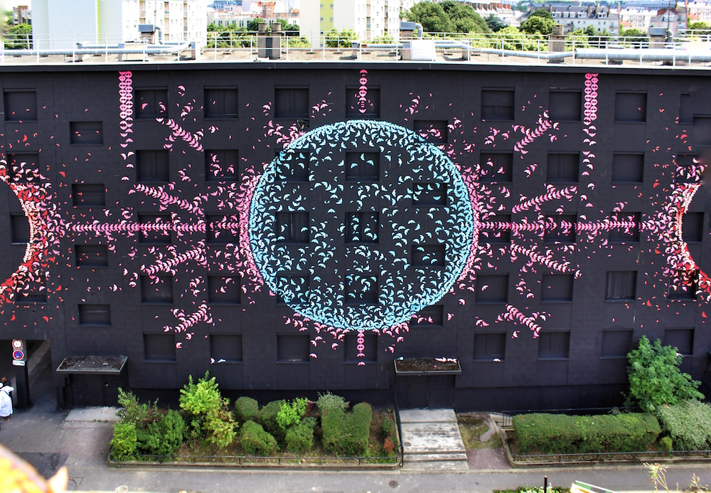 The Lunar Cycle Displayed Through 15,000 Colorful Origami Birds