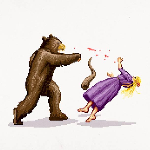 Pixel Punches - Coups de poing celebres par Aled Lewis