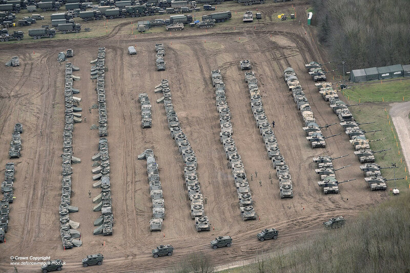 Pictured are hundreds of armoured and support vehicles during Exercise TRACTABLE 2016.